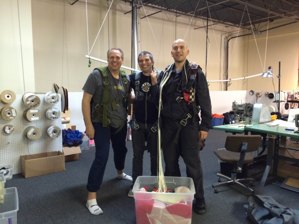 FAA Master Parachute Riggers Steve, Mike & Vitaly at ChutingStar Rigging Loft.