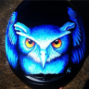 """""""Blue Owl"""" (Cookie G3 Helmet, Owner: Doug Stein, 2014) """"This helmet is one of the first helmets I ever customized,"""" Marissa says. """"It has been a staple image on all of my marketing materials and is one of the most eye-catching designs I have done to date. On top of that, I gained a phenomenal friend out of this commission. I have painted 6 helmets for Doug, and he has become an amazing and supportive friend in the two years I've known him."""""""