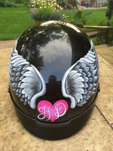 Harley Davidson Motorcycle Helmet painted by Marissa.